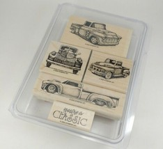 STAMPIN UP Classic Pickups Trucks Hot Rod Stamp Set Wood Block Pre Owned  - $49.49