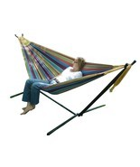 Double Size Hammock Steel Stand Patio Outdoor Camp Picnic Garden Furnitu... - €145,15 EUR
