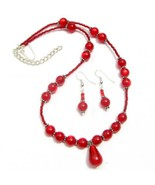 Necklace Earrings Set Ruby Red Lucite Beads Silver Plated - $9.89