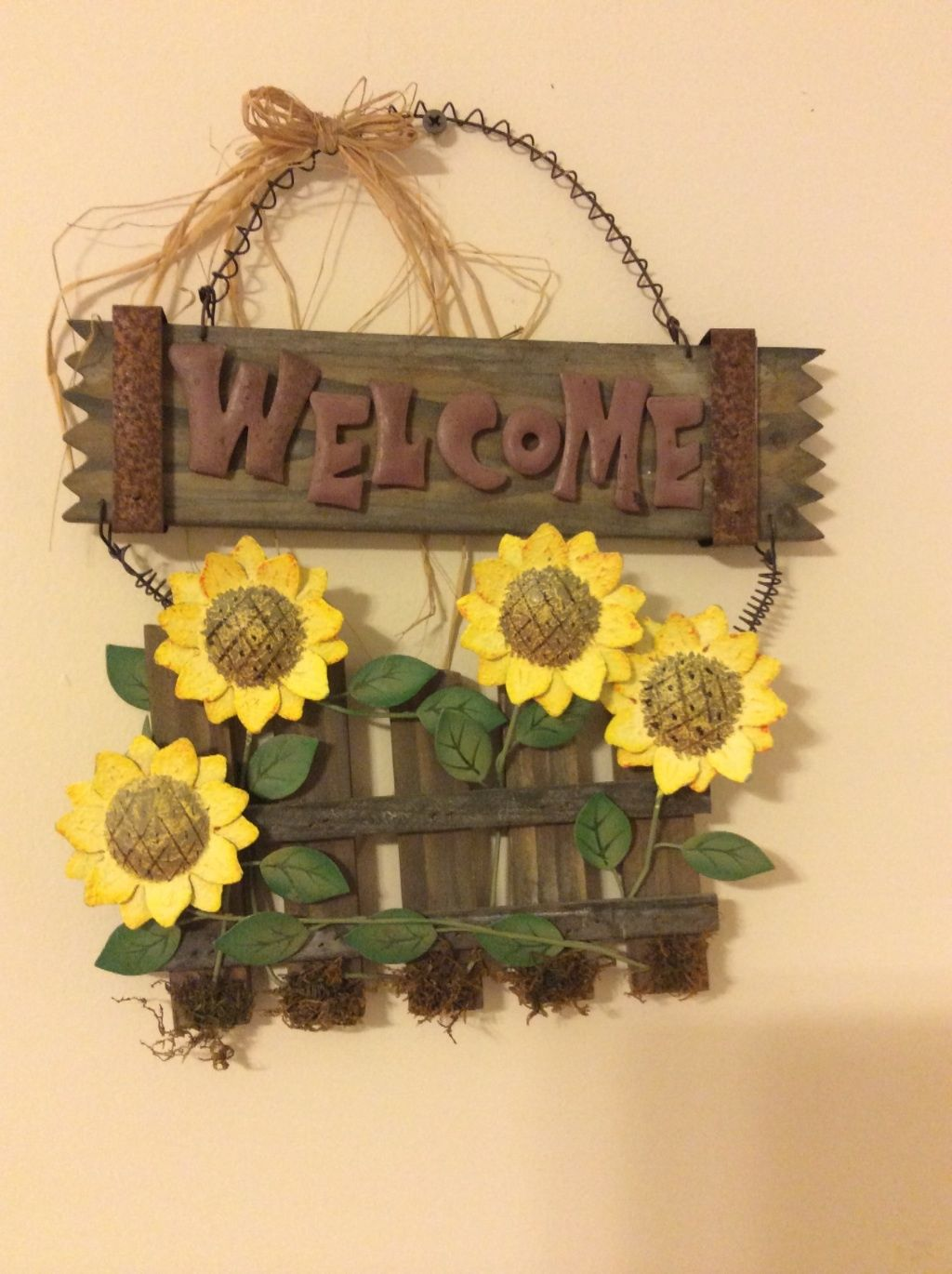 Vintage Welcome Wall Plaque Wood with Metal and similar items
