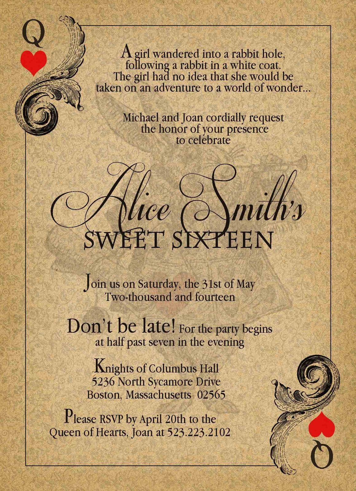 Alice in Wonderland Vintage Sweet Sixteen Birthday Invitation Queen of Hearts