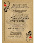 Alice in Wonderland Vintage Sweet Sixteen Birthday Invitation Queen of H... - $0.99