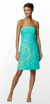 $268 Lilly Pulitzer Bowen Aqua Comb Get It Embroidered Strapless Dress - $134.99