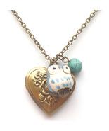 Antiqued Brass Turquoise Porcelain Owl Locket N... - $13.99