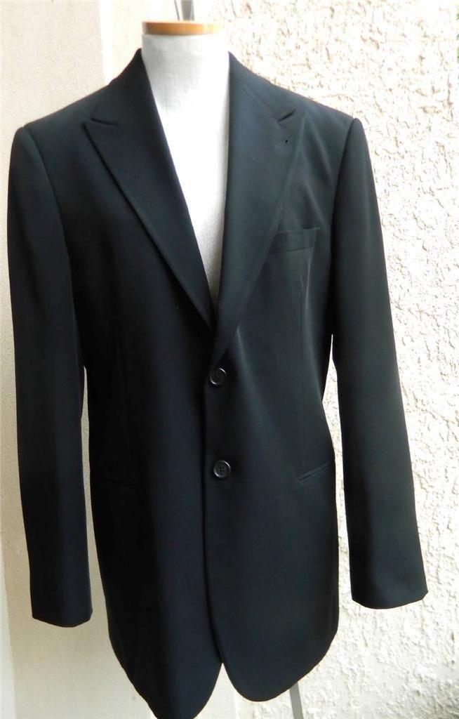 GIORGIO ARMANI Sport Coat Blazer Solid Black 2 Button 50 IT