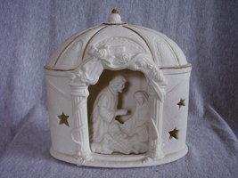 Nativity Illuminated Christmas Village Holy Family Ceramic Bisque - $32.00