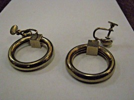 EARRINGS silver color DANGLING HOOPS screw back - $5.93
