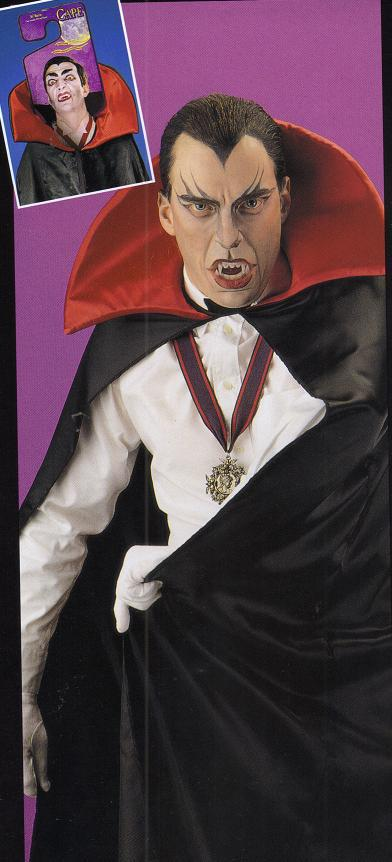 BLACK SATIN WITH RED COLLAR CAPE FULL LENGTH
