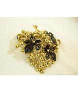 SARAH COVENTRY GOLDEN CLUSTER GRAPE BLACK ENAMEL LEAVES BROOCH PIN PENDA... - $17.81