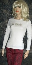 Karen Scott Embellished Long Sleeve White Top Petite Small - $24.00