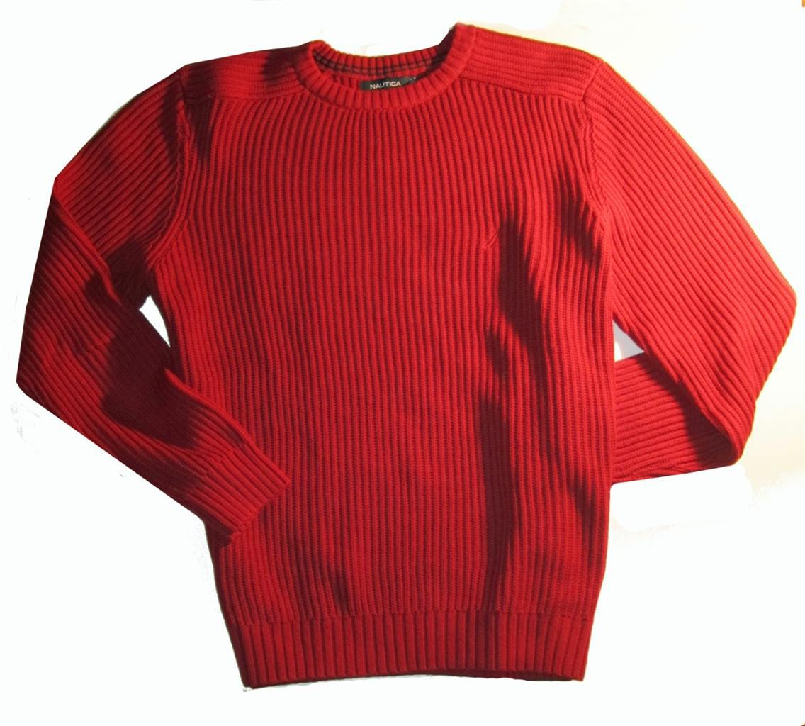 Nautica Men's Knit Crew Neck Red Sweater Large