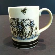 Vtg MCM Cat Kitty Kittens Flowers Bees Polkadot Bow Mug Brown Stripe Rib... - $19.31