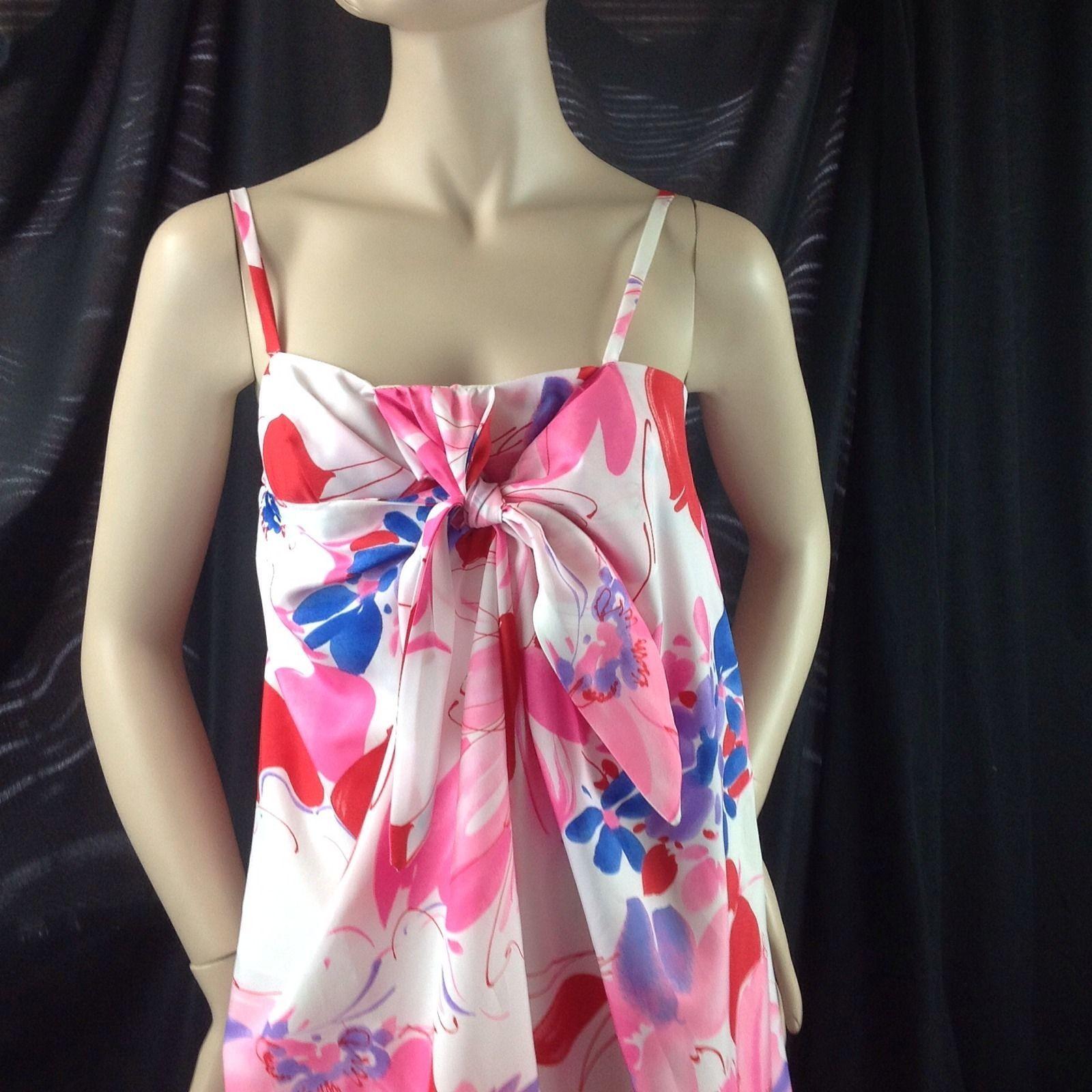 Vtg Evelyn Margolis Hilo Hattie Hawaiian Maxi Dress Mod Bold Watercolor Floral M
