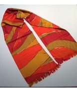 Vtg Vera Neumann Silk Mod Bold Wavy Stripe Fringe Long Scarve Warm Tones... - $38.61