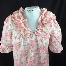 Vtg Triple Ruffle Collar Button Front Robe Pink Floral Zigzag Stitch Small - $19.31