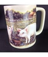 Vtg Otagiri Painted Pink Pig Farm Mug Cup Japan Pitchfork Hay - $19.31