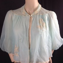 Vtg Artemis Blue Ivory Lace Nylon Bed Jacket Lingerie Butterfly Applique... - $24.26