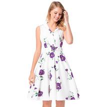 AOVEI Purple Floral Print Lapel Collar Vintage A Line Cute Pleated Swing Dress - $24.99