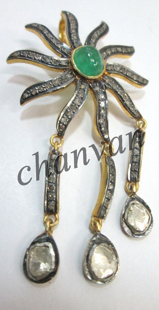 Primary image for vintage / Victorian Style !! 2.00 Ctw Rose Cut/Polky diamond Antique Look Pendan