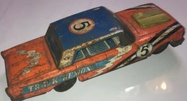 Vintage Tin Car Battery Operated TRACK DEMON race Car Rare Not working - $140.24