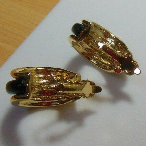 Trifari TM Gold-tone & Black Enamel Half Hoop Clip-on Earrings