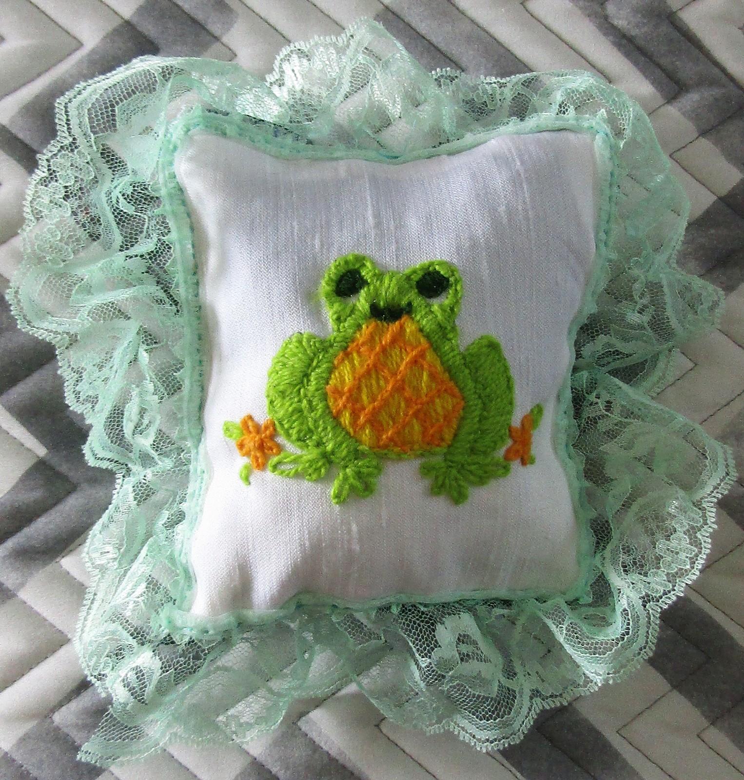Zawadi Frog Needlepoint Pillow
