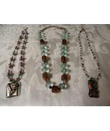 3 one of a kind necklaces ,lavender,pink,purple,violet blue shimmer gold... - $25.00