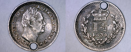 1834 Great Britain 1-1/2 Pence World Silver Coin - UK - England - Holed - $24.99