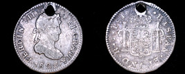 1823-PTS PJ Bolivian 1/2 Real World Silver Coin - Bolivia - Holed - $34.99