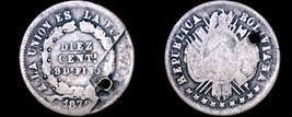 1872-PTS FE Bolivian 10 Centavo World Silver Coin - Bolivia - Holed - $12.99