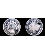 1872-PTS FE Bolivian 10 Centavo World Silver Coin - Bolivia - Holed - $12.99