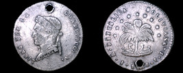 1858-PTS FJ Bolivian 1/2 Sol World Silver Coin - Bolivia - Holed - $24.99