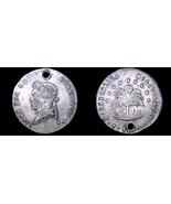 1858-PTS FJ Bolivian 1/2 Sol World Silver Coin - Bolivia - Holed - $24.99