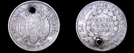 1872-PTS FE Bolivian 5 Centavo World Silver Coin - Bolivia - Holed - $17.99