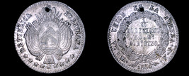 1864-PTS FP Bolivian 1/10 Boliviano World Silver Coin - Bolivia - Holed - $49.99