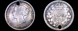 1870 Canadian Nickel 5 Cents Canada World Silver Coin - Holed - $24.99