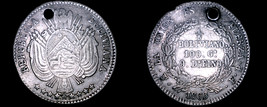 1866/5-PTS FP Bolivian 1/5 Boliviano World Silver Coin - Bolivia - Holed - $59.99