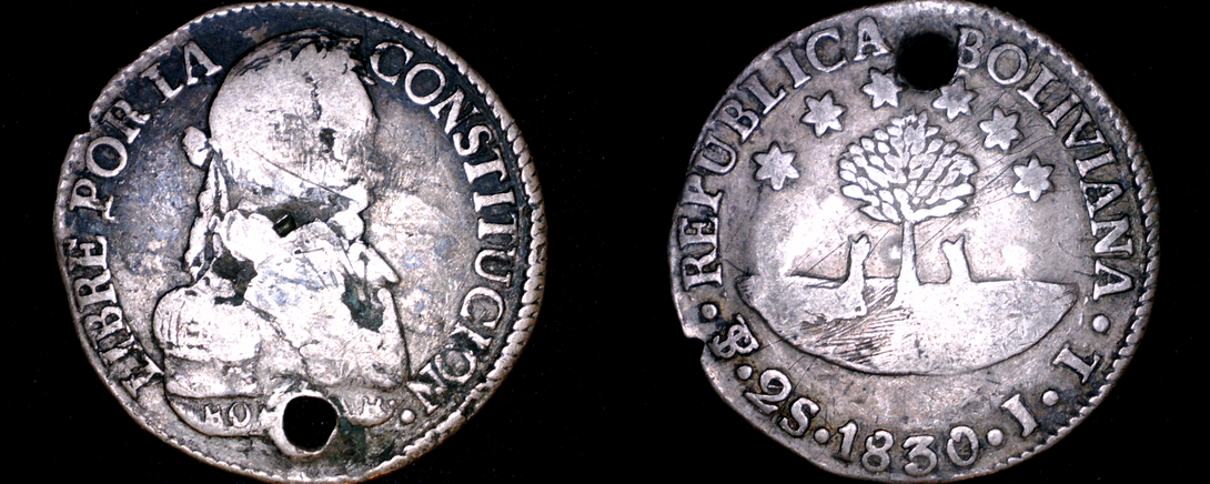 1830-PTS JL Bolivian 2 Soles World Silver Coin - Bolivia - Holed