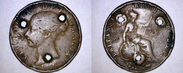 1854 Great Britain Half Penny World Coin - UK - England - Buttonholed - $7.99