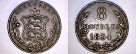 1834 Guernsey 8 Doubles World Coin - William IV - Holed - $49.99
