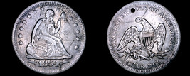 1854-P Seated Liberty Silver Quarter - Arrows - Hole Marked - $84.99