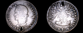 1859-PTS F.J. Bolivian 8 Soles World Silver Coin - Bolivia - Holed - $124.99