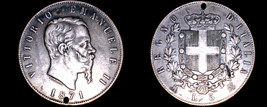1871-M BN Italian 5 Lire World Silver Coin - Italy - Holed - $99.99