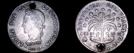1861-PTS FJ Bolivian 8 Soles World Silver Coin - Bolivia - Holed - $74.99