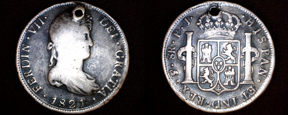 1821 PTS-PJ Bolivian 8 Reales World Silver Coin - Ferdinand VII - Holed