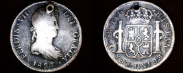1821 PTS-PJ Bolivian 8 Reales World Silver Coin - Ferdinand VII - Holed - $149.99