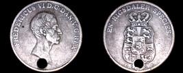 1828 IC//FF Danish 1 Speciedaler World Silver Coin - Denmark - Holed - $174.99