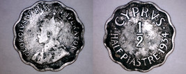 1934 Cyprus Half (1/2) Piastre World Coin - $5.99