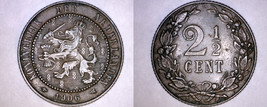 1906 Netherlands 2-1/2 Cent World Coin - $14.99