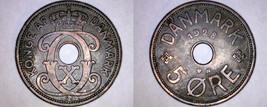 1928 Danish 5 Ore World Coin - Denmark - $11.99